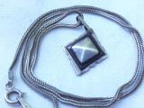 MEDALION argint TUAREG TRIBAL cu intarsii LEMN ABANOS rar VECHI pe Lant argint