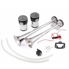 Claxon cu 2 pipe si 2 compresoare horn 12V sunet dual 130db AL-130120-2