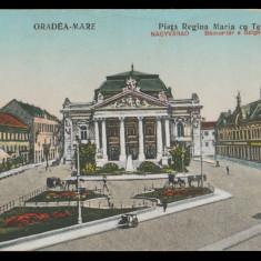 1920 Romania CP Oradea Mare, Piata Regina Maria cu Teatrul, tramvai, Nagyvárad, Circulata, Printata
