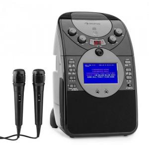 Auna Ecrankaraoke - Camera CD USB SD MP3 inclusiv. 2 x microfon negru