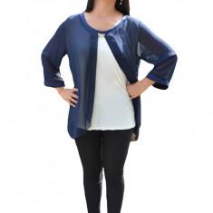 Bluza vaporoasa de ocazie, de culoare bleumarin-alb, din voal