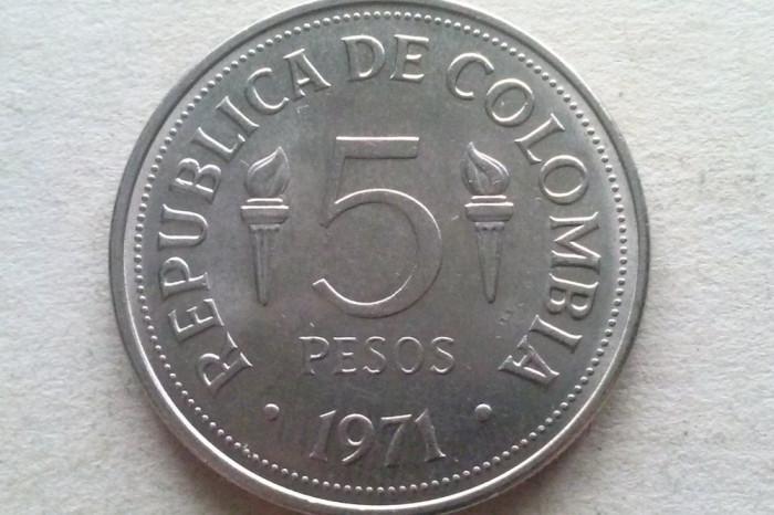 MONEDA 5 PESOS 1971-COLUMBIA (PAN-AMERICAN GAMES IN CALI)