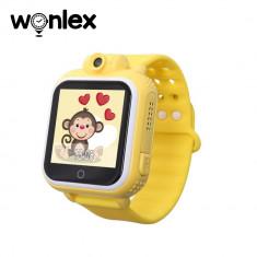 Ceas Smartwatch Pentru Copii Wonlex GW1000 cu Functie Telefon, Localizare GPS, Camera, 3G, Pedometru, SOS, Android - Galben