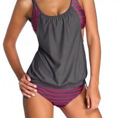 Costum de baie cu bretele ajustabile 2 piese dama, gri inchis/roz