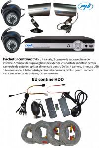 Aproape nou: DVR kit supraveghere video PNI House PTZ01 - DVR si 4 camere (2 de int