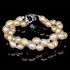 Bratara cu Perle Naturale si Argint 925, Madonna Pink