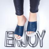 Papuci Piele dama albastri Planeria-rl
