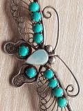 Brosa  veche ARGINT filigran 925 - FLUTURE- decorata piatra naturala turcoaz