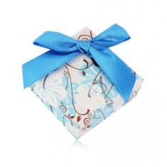 Cutie cadou pentru un inel sau cercei - hibiscus, fundă albastru închis