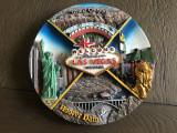 Farfurie ornamentala,souvenir Las Vegas,in basorelief