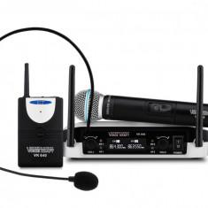 Set Profesional Microfon Wireless, Casti cu Microfon si Receiver, Raza Acoperire 75m