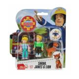 Set 3 figurine articulate Pompierul Sam, Sarah, James si Lion, 7.5 cm