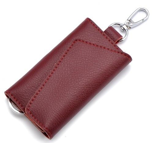 Husa portofel depozitare chei, piele naturala, burgundy, GD1065