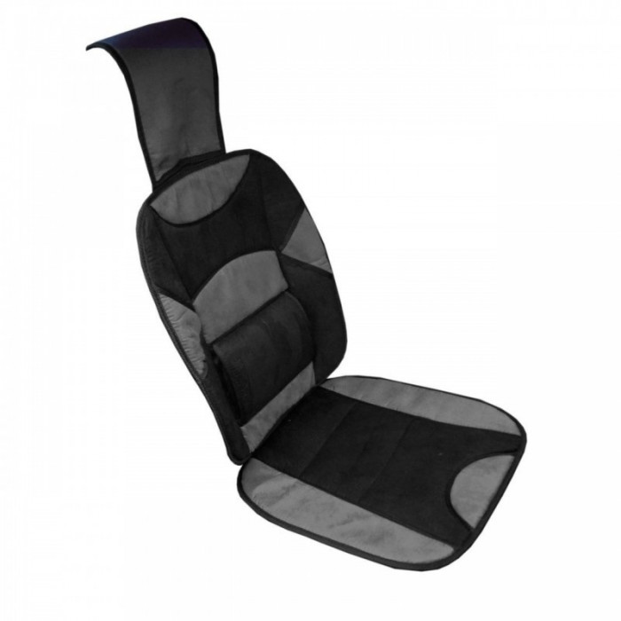 Husa scaun auto RoGroup, tetiera si suport lombar, microfibra, negru/gri