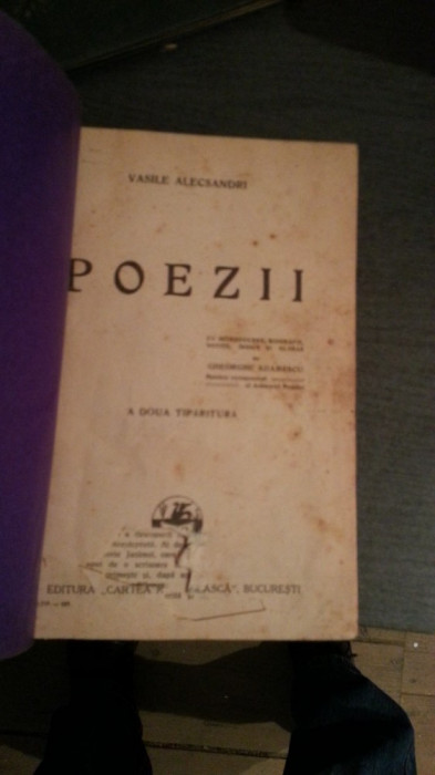 POEZII-VASILE ALECSANDRI, a doua tiparitura