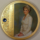 "Medalie ""Portretul unei printese - Lady Diana"" ( cupru aurit , cu Swarovski ), Europa"