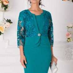 Rochie Cami turcoaz cu bolero din dantela florala