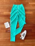 Pantaloni dama lungi albastri cu fermoar si bretele