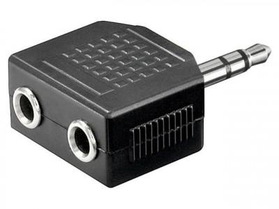 Adaptor Jack 3.5mm tata stereo - 2 jack 3.5mm mama foto