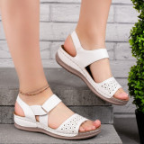 Sandale dama cu talpa ortopedica albe Zeta
