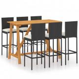 Set mobilier bar de grădină cu perne, 7 piese, negru, vidaXL