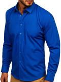 Cămașă elegantă bărbați albastru Bolf 0001
