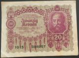 Bancnota ISTORICA 20 COROANE - AUSTRO-UNGARIA (AUSTRIA), anul 1922   *cod 744 B