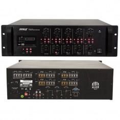 Mixer cu amplificare, 4 x 120 W, 5 canale, 2 x intrari AUX, 4 Ohm