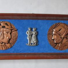 TABLOU-BRETAGNE-metal(cupru) ,rama lemn,vintage