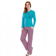 Pijama femei maneca lunga 3070 Turquise M