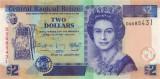 BELIZE █ bancnota █ 2 Dollars █ 2017 █ P-66f █ UNC █ necirculata