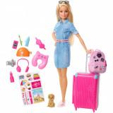 Papusa Barbie Travel cu accesorii de calatorie