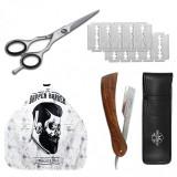 Set kit frizerie coafor COMPLET cu foarfeca profesionala tuns brici pelerina