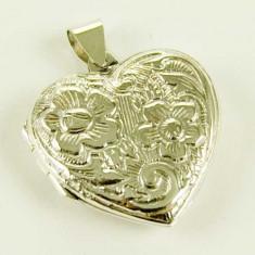 Pandantiv medalion pentru poza inima cu flori din argint