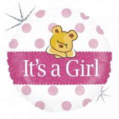 Balon botez fetita cu buline roz si ursulet din folie 43cm