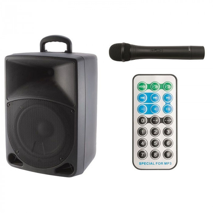 Boxa activa bluetooth, 120 w, cu acumulator, microfon si telecomanda, sal