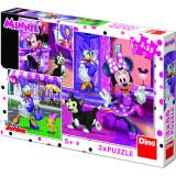 Puzzle 3 in 1 - O zi cu Minnie (55 piese) de la Dino Toys