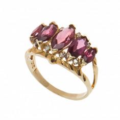 Inel din aur galben 14K cu rodolit si diamante, circumferinta 57 mm