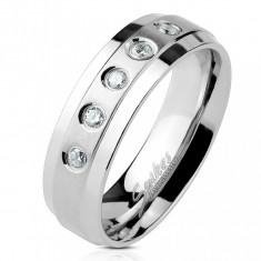 Inel din oțel inoxidabil cu 5 zirconii transparente pe linie mată, margini lucioase - Marime inel: 49