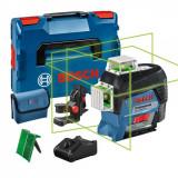 Bosch GLL 3-80 CG + BM1 Nivela laser cu linii, 30m, receptor 120m, precizie 0.2mm/m + 1 x Acumulator GBA 12V 2.0Ah + Incarcator rapid GAL 1230 CV + L-