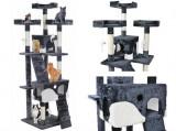 Ansamblu de joaca pentru pisici, cu 2 casute, Plus, 170 cm, Gri