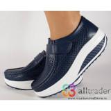 Pantofi bleumarini piele naturala perforati talpa convexa dama/dame/femei (cod AC019-32V2P)