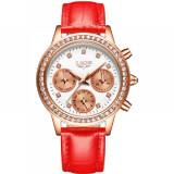 Cumpara ieftin Ceas de dama Lige, mecanism Quartz, curea din piele de culoare rosie, rezistent la apa 3ATM(30m), calendar complet, stil Fashion