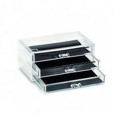 Organizator pentru cosmetice din plastic, Transparent, 3 sertare, l24xA15,5xH11 cm