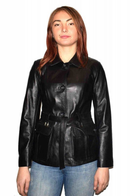 Haina dama, din piele naturala, Kurban, Z8-01-95, negru foto