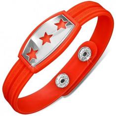 Brățară portocalie și roșie din cauciuc, plăcuță cu stele