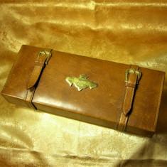 Tobacciana! Cutie fumoar tigarete trabuc Art Deco piele lemn bronz