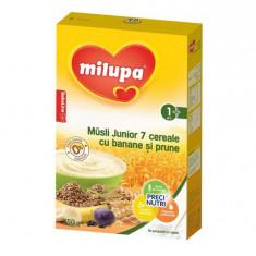 Cereale copii MILUPA Milupa Musli Junior 7 Cereale fara lapte cu banane si prune 250g de la 1 an