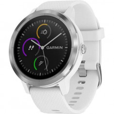 Smartwatch Garmin Vivoactive 3 GPS Silver curea Silicone White