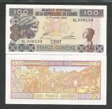 GUINEEA  GUINEA  100 FRANCI  FRANCS  1998  UNC  [1]  P-35a.2  ,  necirculata